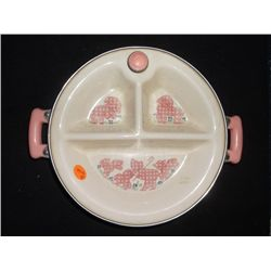 1950's Child's 3 Compartment Keep Warm Plate Porcelain & stainless steel Excello brand made in the U