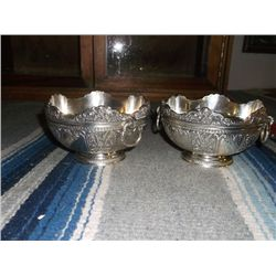 """2 Ornate Silver Plated Candy Dishes Both have handles and marked DS on the bottoms approx 5"""" round"""