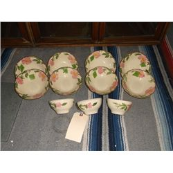 """Franciscan Desert Rose Cups & Bowls There are 3 cups approx 4"""" round & there are 8 bowls approx 6"""" r"""