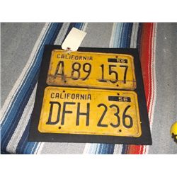 2 1956 California Yellow License Plates Both have yellow Back Ground with Black Letters and Numbers