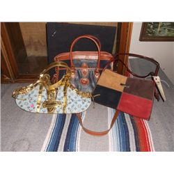 """3 Reproduction Purses One is a Reproduction Gucci Leather Bag brown/tan/red & black approx 12"""" long"""