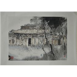 Chinese Watercolour on Paper: Landscape