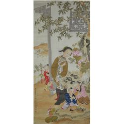 Chinese Watercolour Painting Silk: Girl & 3 Boys