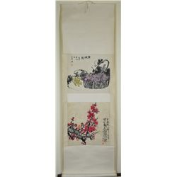 Set of Two Chinese Watercolour Paintings Scroll