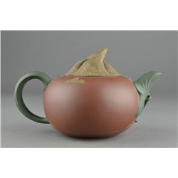 Chinese Yixing Tea Pot Melon Form Signed Jing Yong