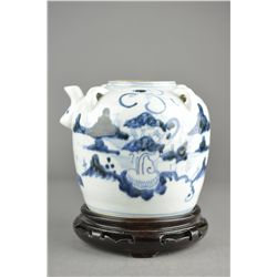 19th C. Chinese Blue & White Rice Wine Jar