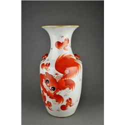 Chinese Copper Red Porcelain Rouleaux Vase