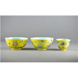 Set of Three Chinese Famille Rose Porcelain Bowls