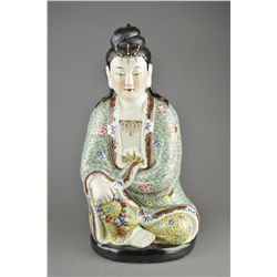 Chinese Famille Rose Porcelain Figure Guanyin MK