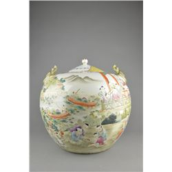 Old Chinese Famille Rose Porcelain Jar with Lid