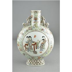 19th C. Chinese Famille Rose Porcelain Moon Flask