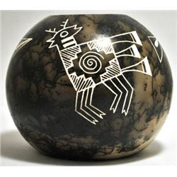 Acoma Pueblo Deer Etched Horsehair Pottery - Gary Yellow Corn Louis