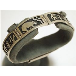 Old Pawn Hopi Sterling Silver Link Bracelet - Sun Face Stamp Signature