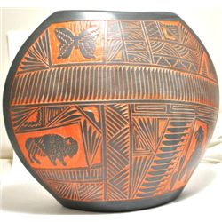 Navajo Multi-Animal Etched Pottery - V.K.