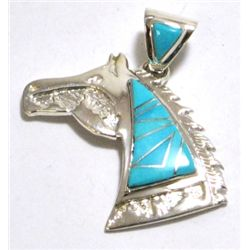 Navajo Turquoise Horse Head Sterling Silver Pendant - Calvin Begay