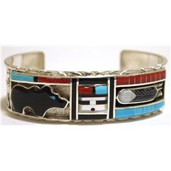 Zuni Multi-Stone Inlay Bear Sunface & Feather Sterling Silver Cuff Bracelet - Don Dewa