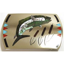Zuni Multi-Stone Inlay Trout Sterling Silver Buckle - Dale Edaakie