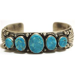 Old Pawn Navajo Kingman Turquoise Sterling Silver Cuff Bracelet - Thomas Francisco