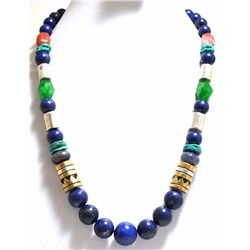 Navajo Lapis Lazuli Necklace with 12k Gold Fill & Sterling Silver - Tommy Singer