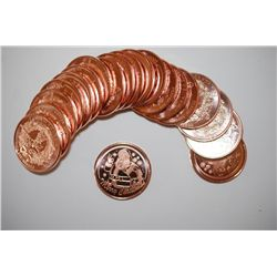 "Christmas Copper Round ""Santa Claus""; .999 Fine Copper 1 Oz.; Roll Lot of 20; EST. $30-50"
