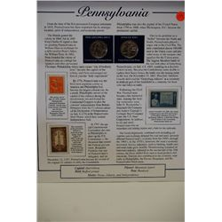 1999 Pennsylvania State Quarter Set With US Postal Stamps & History; P&D Mints; EST. $3-5