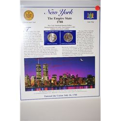 2001 New York State Quarter Set With US Postal Stamps & History; P&D Mints; EST. $3-5
