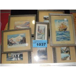Collection of 8 framed original miniature water