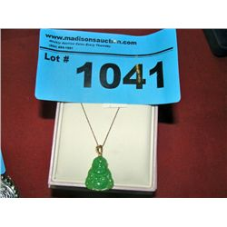Ladies gold necklace with jade buddha pendant