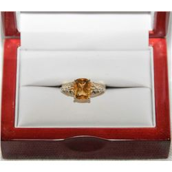 14Kt Gold Yellow Citrine & Diamond ring