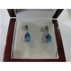 10Kt Gold Topaz & Diamond Earrings