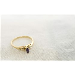 10Kt Gold Amethyst & Diamond ring