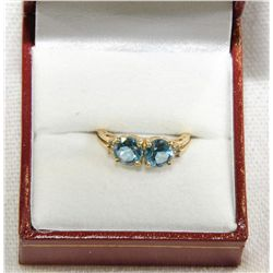 14Kt Gold Diamond & Topaz ring