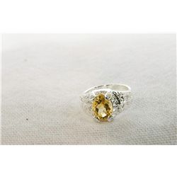 Estate Citrine & Diamond ring