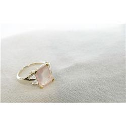 Estate Silver Pink Quartz & Diamond ring