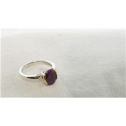925 Silver Ruby & Diamond ring