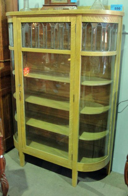 Exceptional Image 1 : Solid Oak Curio Cabinet With Leaded And Curved