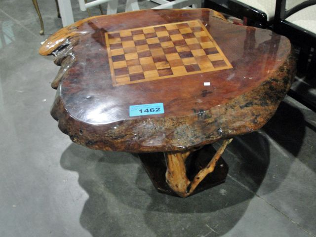 Image 1 Burl Coffee Table With Inlaid Chess Board