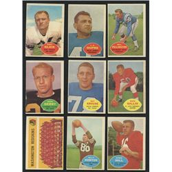 Lot of (9) Vintage 1960 Topps Football Cards
