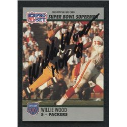 """Willie Wood Signed Packers Football Card Inscribed """"HOF 89"""" (JSA LOA)"""
