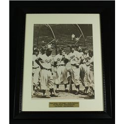 Dodgers 16x20 Custom Framed Display With Robinson, Hodges, Snider, Reese, Campanella