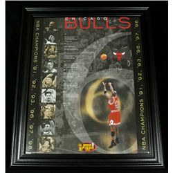 Michael Jordan Bulls 19x23 Custom Framed Display:  NBA Champions