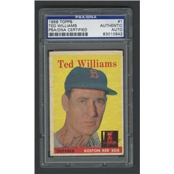 Ted Williams Red Sox Signed 1958 Topps #1 Baseball Card (PSA Encapsulated)