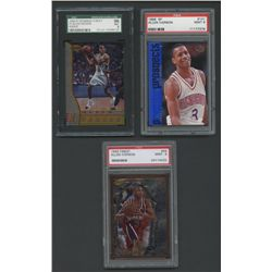 Lot of (3) Allen Iverson Graded 9 Rookie Cards with Finest, Bowman's Best, SP