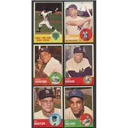 Lot of (6) 1963 Topps Baseball Cards with Billy Williams, Bobby Richardson, Whitey Ford (BV $88)