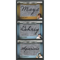 Lot of (3) 2012 Topps Historical Stitches with Lou Gehrig, Willie Mays, Luis Aparicio (BV $42)