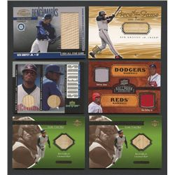Lot of (10) Ken Griffey Jr. Cards with Game-Used & Rare Inserts (BV $140+)