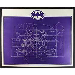 Batman Batmobile Oversized Blueprint LE 1992 Lithograph (DC Comics LOA)
