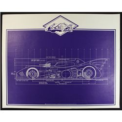 Batman Batmobile Oversized Blueprint LE 1992 Lithograph