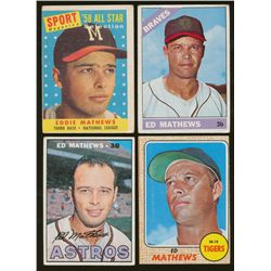 Lot of (4) Vintage Eddie Mathews Baseball Cards (BV $75)