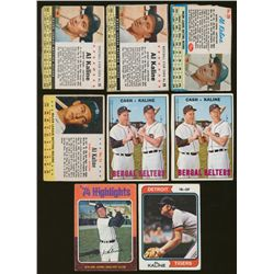 Lot of (8) Vintage Al Kaline Baseball Cards